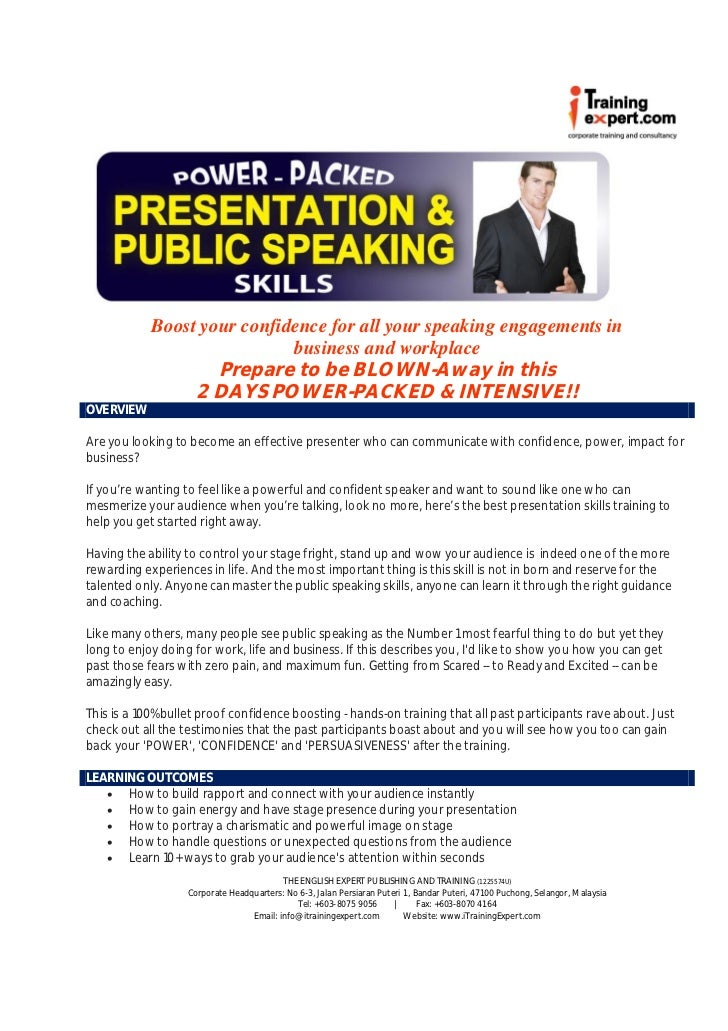 Boost your confidence for all your speaking engagements in                             business and workplace             ...