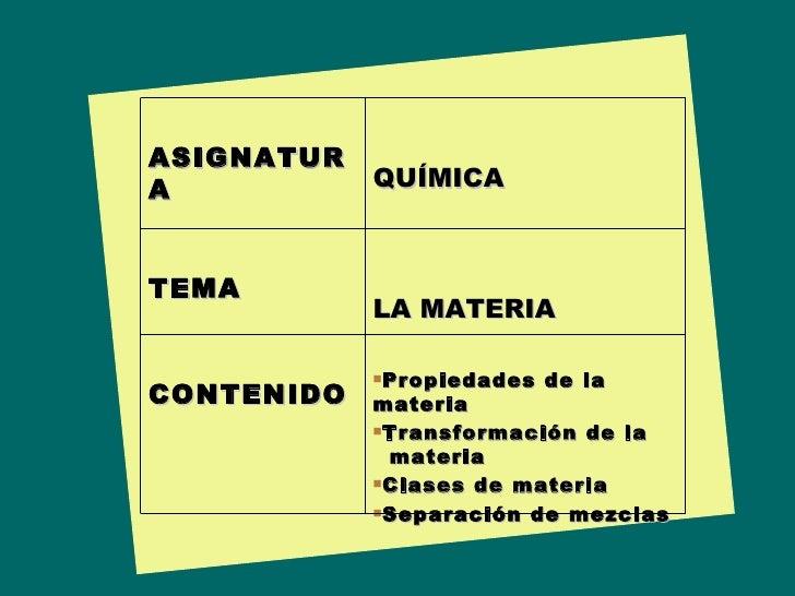 ASIGNATURA QUÍMICA TEMA LA MATERIA CONTENIDO <ul><li>Propiedades de la materia </li></ul><ul><li>Transformación de la    m...