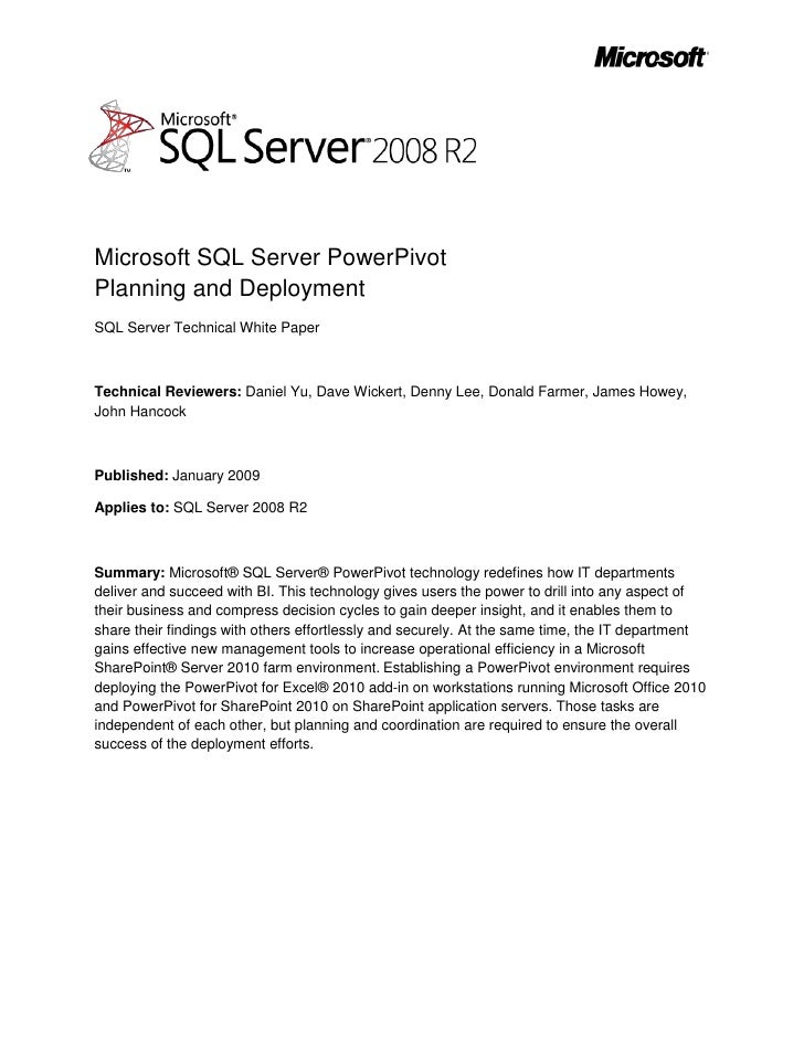 -5397553975<br />Microsoft SQL Server PowerPivotPlanning and Deployment<br />SQL Server Technical White Paper<br />Technic...