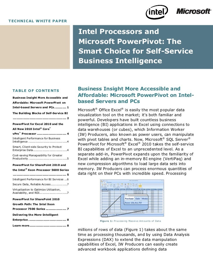 White Paper: Intel Processors and Microsoft PowerPivot
