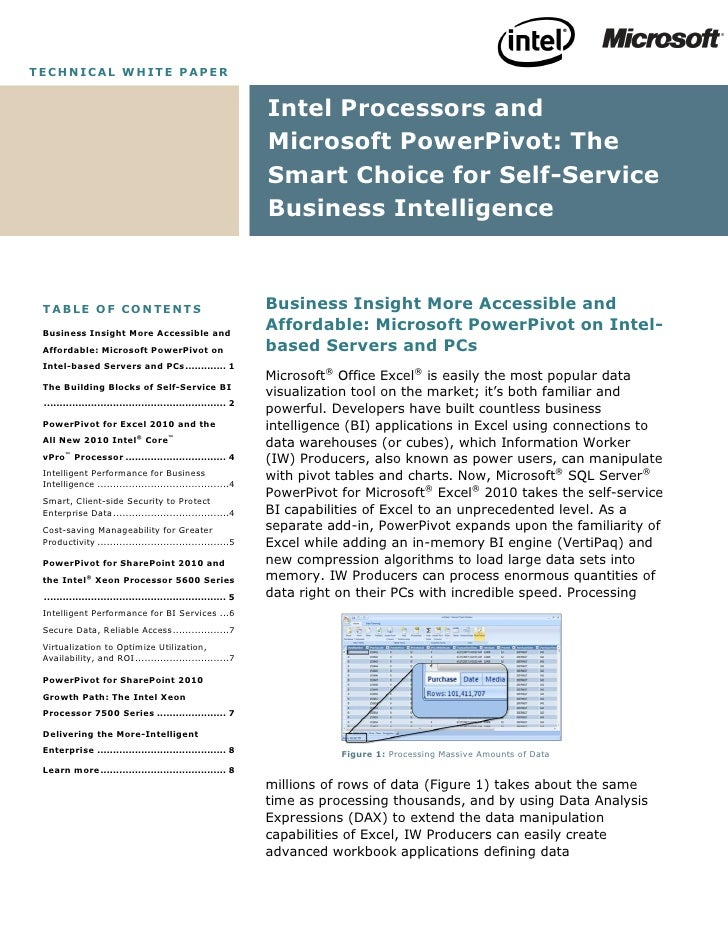 Microsoft SQL Server - The Smart Choice for Self Service Business Intelligence Whitepaper