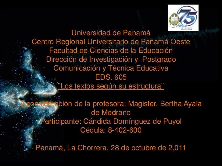 Universidad de Panamá   Centro Regional Universitario de Panamá Oeste        Facultad de Ciencias de la Educación      Dir...