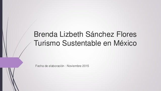 Brenda Lizbeth Sánchez Flores Turismo Sustentable en México Fecha de elaboración : Noviembre 2015
