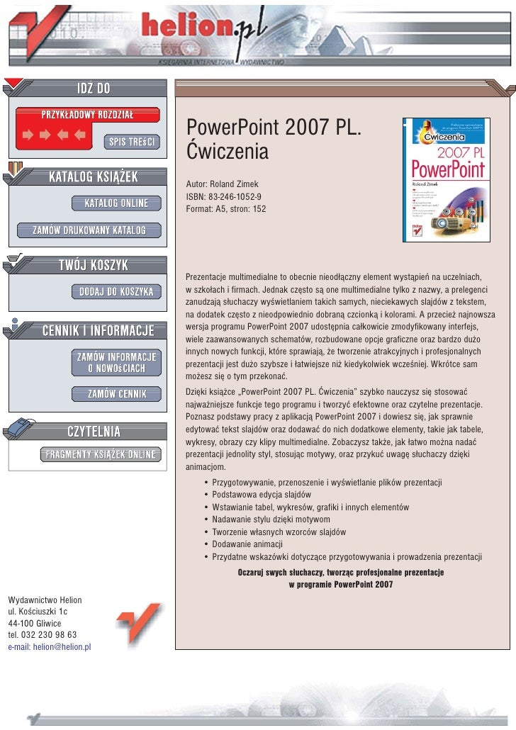 PowerPoint 2007 PL.                            Æwiczenia                            Autor: Roland Zimek                   ...