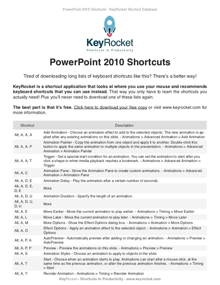 Power point 2010 shortcuts