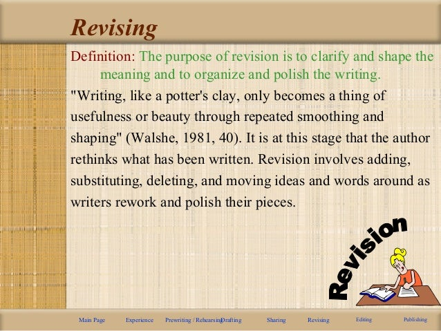 """different ways of making the process of writing much smoother Rhetoric and composition/the stages of the writing process writing is """" the way you use and so on--it is useful to break the writing process into different."""