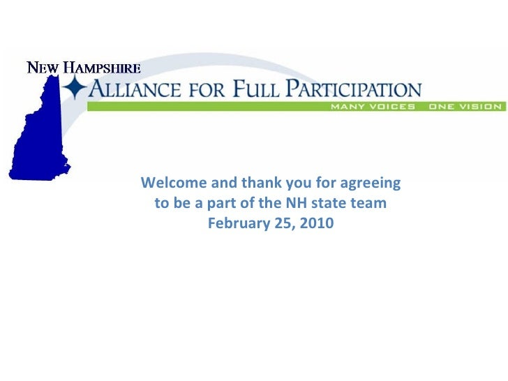 NH Alliance For Full Participation 2.25.10, First Meeting