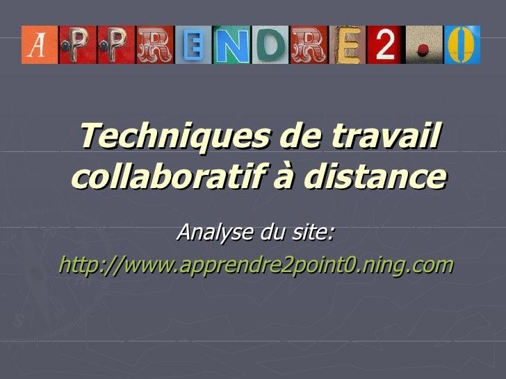 Techniques de travail collaboratif à distance Analyse du site: http://www.apprendre2point0.ning.com