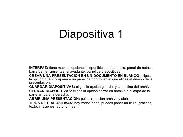 Diapositiva 1 INTERFAZ:  tiene muchas opciones disponibles, por ejemplo: panel de notas, barra de herramientas, el ayudant...