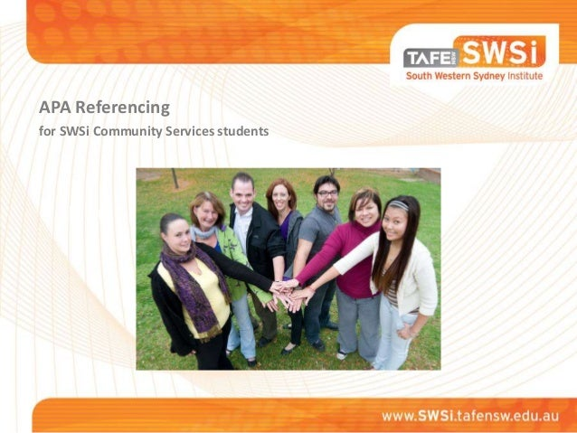 APA Referencing for SWSi Community Services students  International students