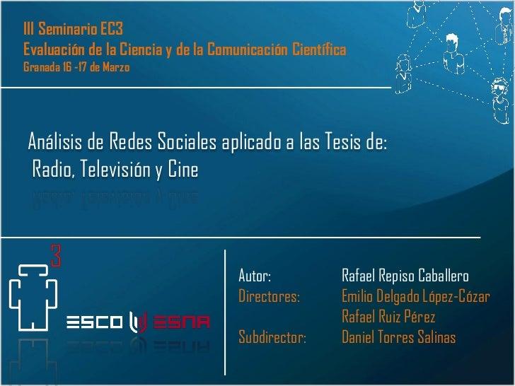 Presentación Análisis de Redes Científicas en Radio, Televisión y Cine