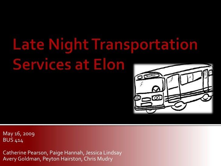 Market Research - Late Night Transportation