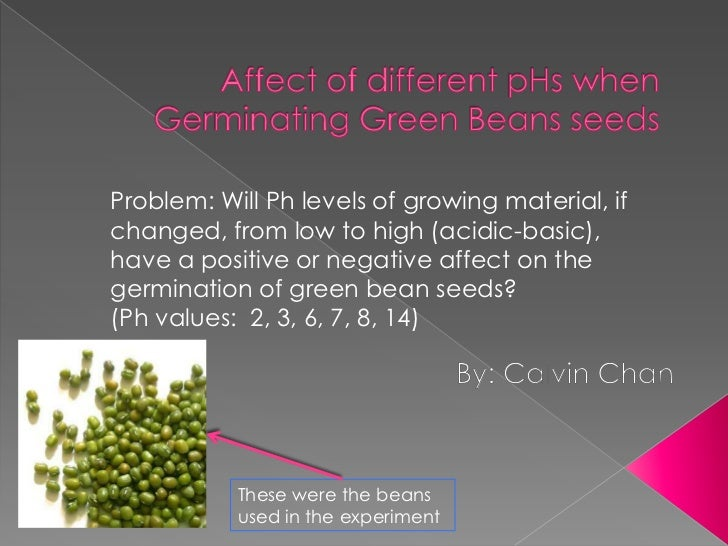 Problem: Will Ph levels of growing material, ifchanged, from low to high (acidic-basic),have a positive or negative affect...