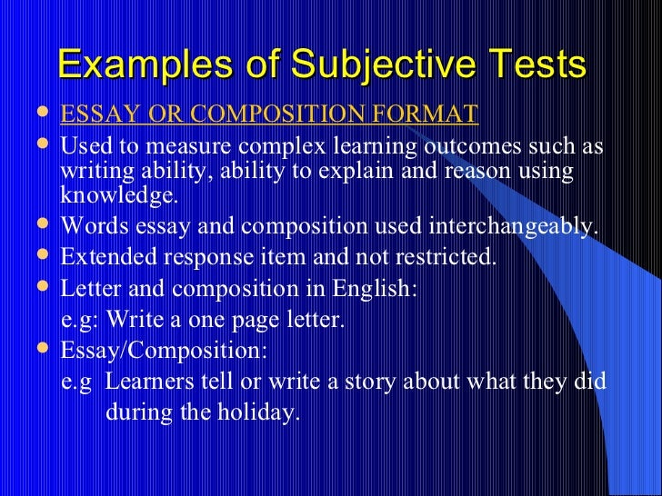 subjective essay example