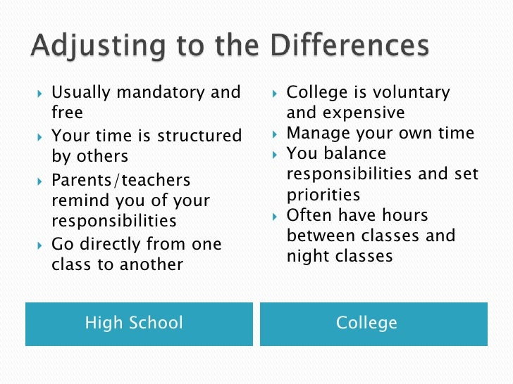 Compare and contrast essay college vs high school