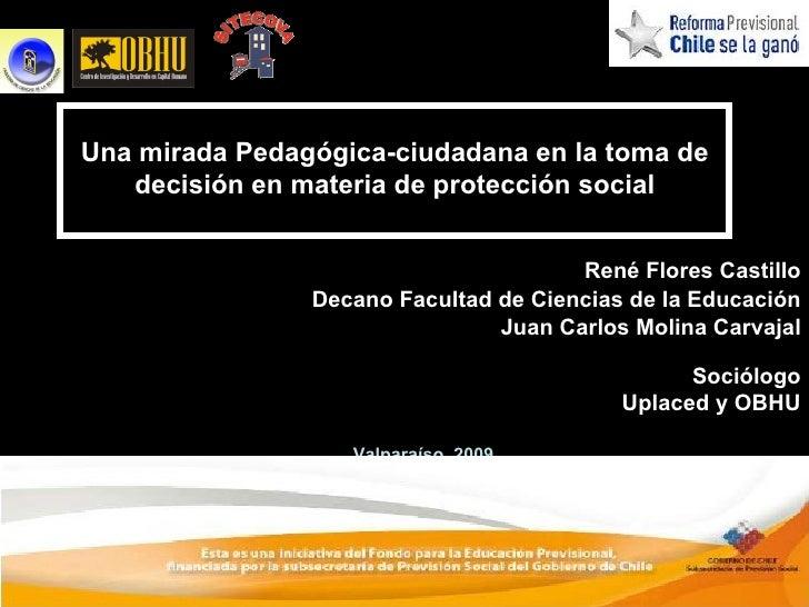Una Mirada Pedagógica-Ciudadana en la toma de Decisiones en Materia de Protección Social