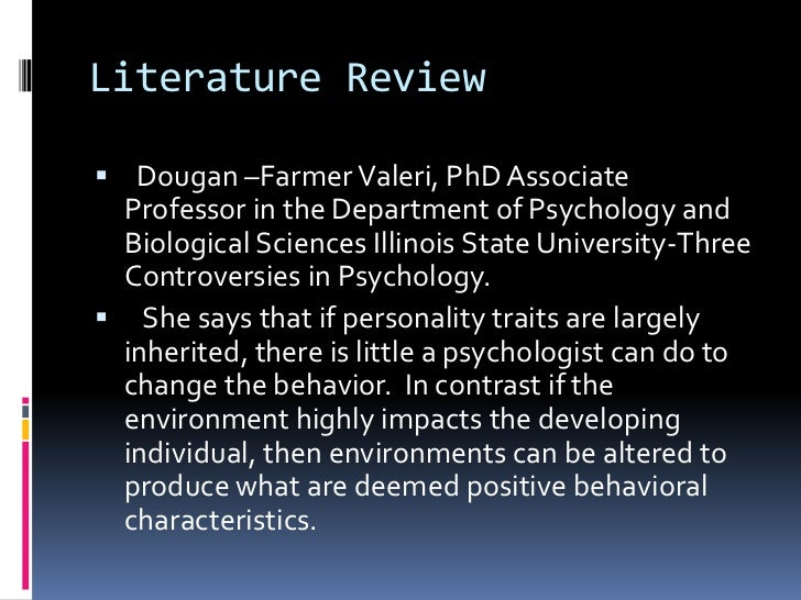 abbreviated literature review on a forensic psychology topic of your choosing and report your findin Conduct an abbreviated literature review on a forensic psychology topic of your choosing and report your findings from the literature review your final project should include 12-15 research articles on your chosen topic and should be empirically based.