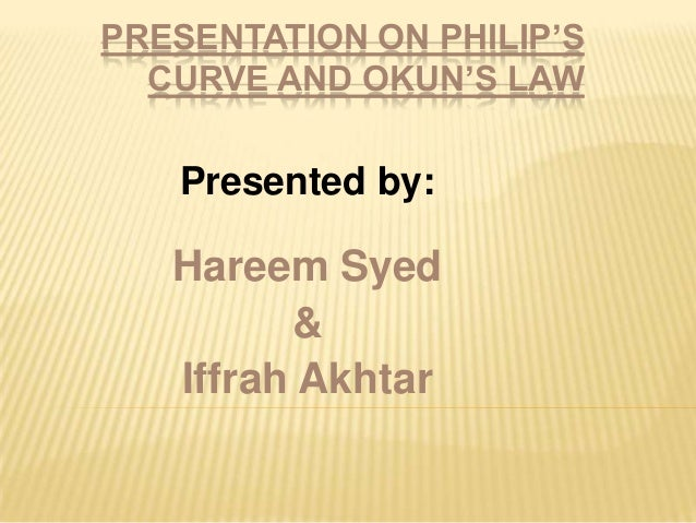 PRESENTATION ON PHILIP'SCURVE AND OKUN'S LAWPresented by:Hareem Syed&Iffrah Akhtar