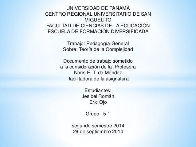 UNIVERSIDAD DE PANAMÀ  CENTRO REGIONAL UNIVERSITARIO DE SAN  MIGUELITO  FACULTAD DE CIENCIAS DE LA ECUCACIÒN  ESCUELA DE F...