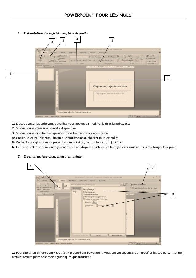 POWERPOINT POUR LES NULS  1. Présentation du logiciel : onglet « Accueil »  1 : Diapositive sur laquelle vous travaillez, ...