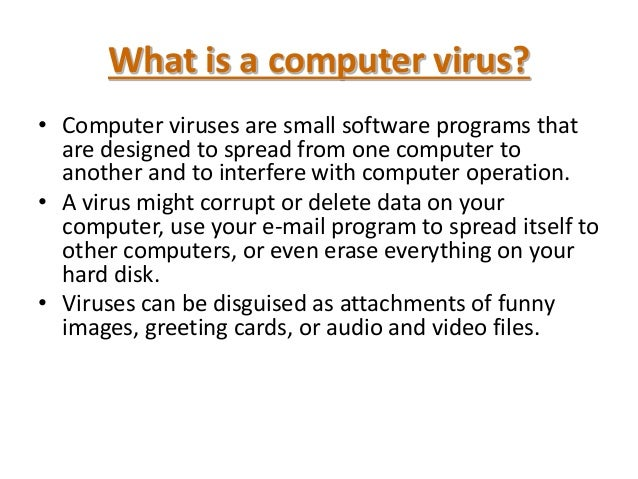 informative essay on computer viruses Free essay: computer viruses one thing that all computer users may have in  common is fear of contracting a virus on their systems a virus can be defined as.