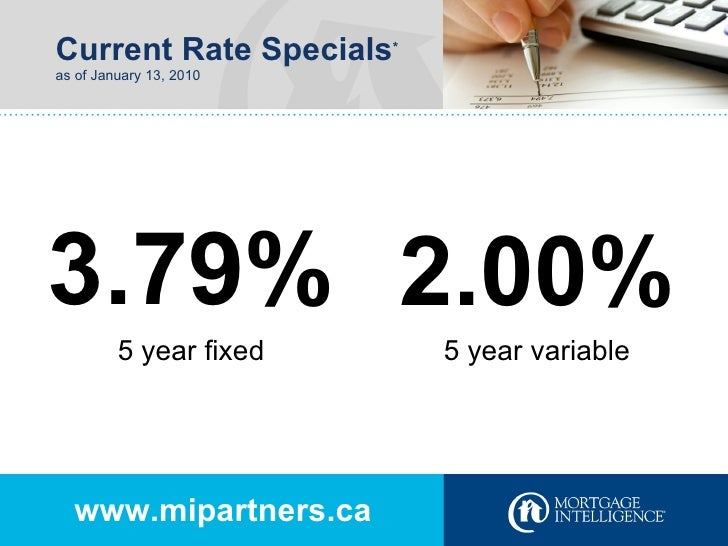 Current Rate Specials * as of January 13, 2010 www.mipartners.ca 3.79% 2.00% 5 year fixed 5 year variable