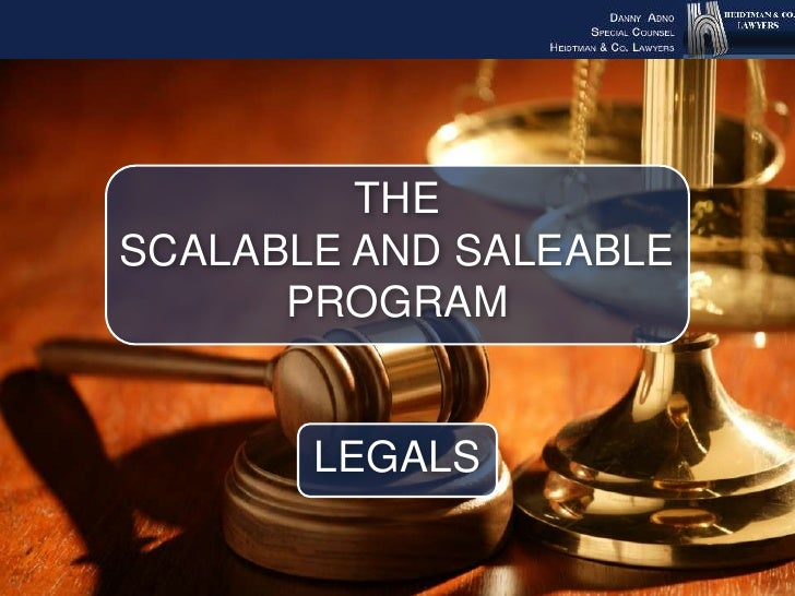 The scalable andsaleable program  Legals<br />