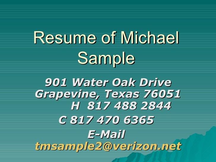 power point resume michael sample