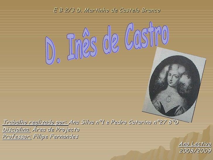 E B 2/3 D. Martinho de Castelo Branco Trabalho realizado por:  Ana Silva nº1 e Pedro Catarino nº27 8ºD Disciplina:  Área d...