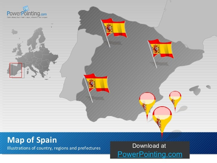 Illustrations of country, regions and prefectures Map of Spain Download at  SlideShop.com