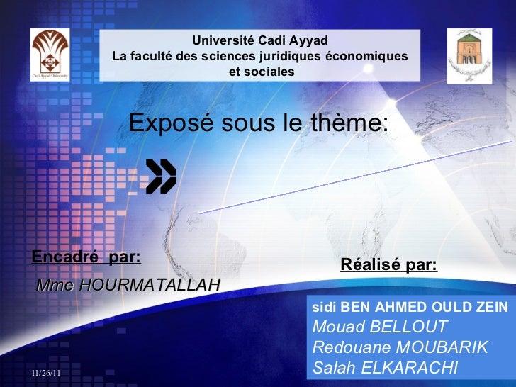 Approche des marchés étrangers Encadré  par: Mme HOURMATALLAH Réalisé par: sidi BEN AHMED OULD ZEIN   Mouad BELLOUT Redoua...