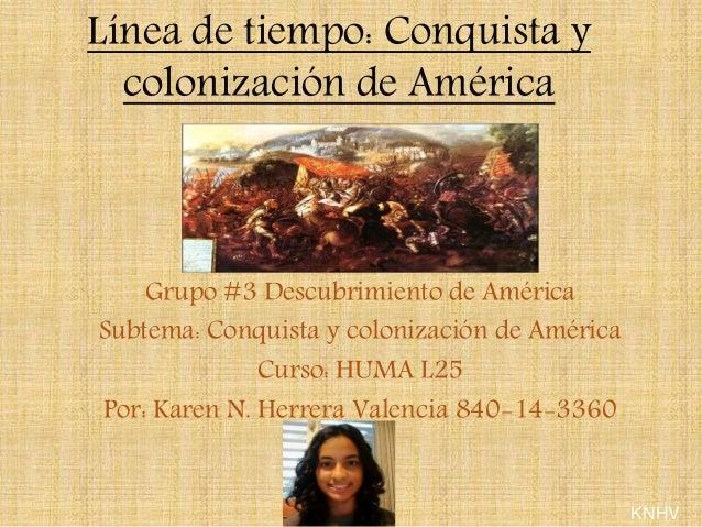 Línea de tiempo: Conquista y  colonización de América  Grupo #3 Descubrimiento de América  Subtema: Conquista y colonizaci...