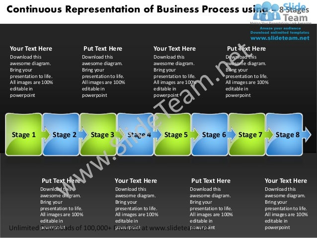 Powerpoint templates process using 8 stages 5 year business plan