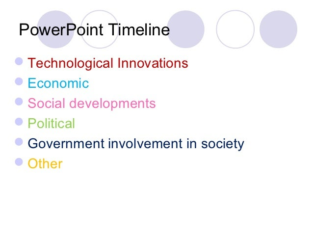 PowerPoint TimelineTechnological InnovationsEconomicSocial developmentsPoliticalGovernment involvement in societyOther