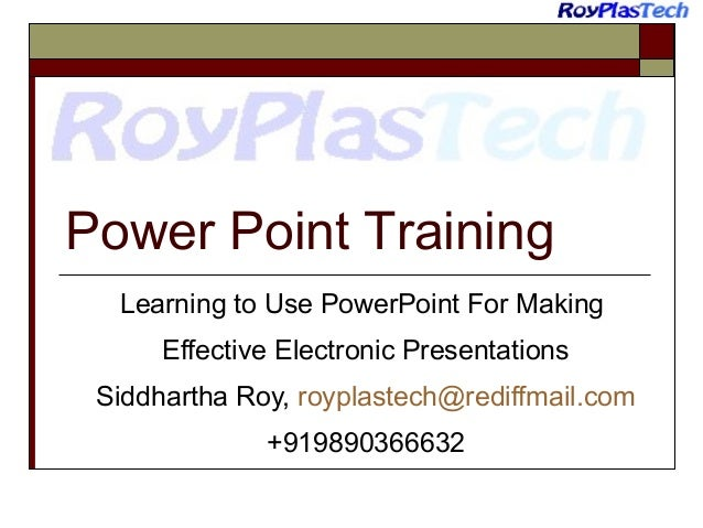 Powerpoint Training - Ten golden rules for making effective Presentations
