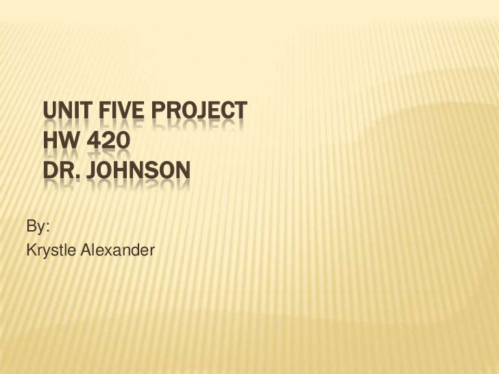 Unit Five ProjectHW 420Dr. Johnson<br />By: <br />Krystle Alexander<br />
