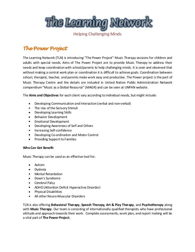 """Helping Challenging Minds The Power Project The Learning Network (TLN) is introducing """"The Power Project"""" Music Therapy se..."""