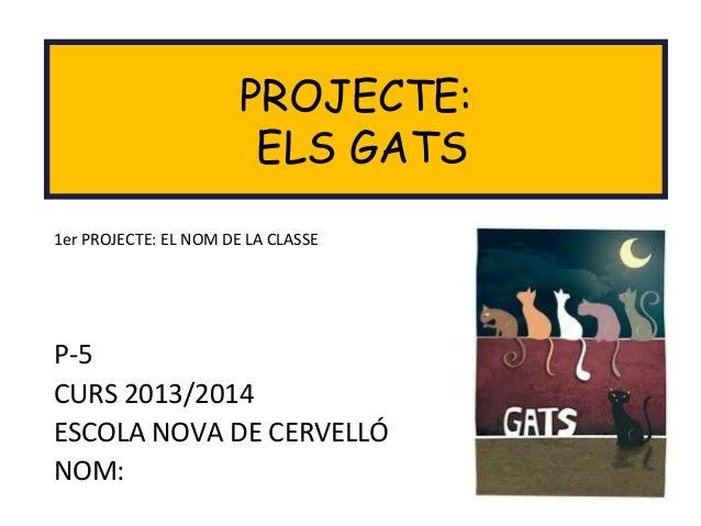 P-5 CURS 2013/2014 ESCOLA NOVA DE CERVELLÓ NOM: PROJECTE: ELS GATS 1er PROJECTE: EL NOM DE LA CLASSE
