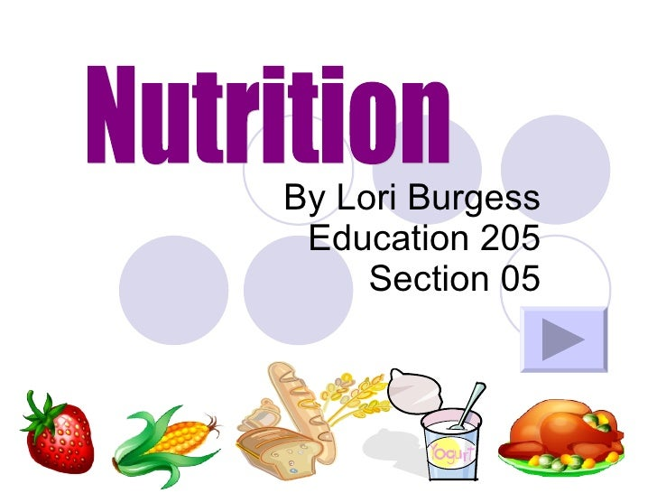 By Lori Burgess Education 205 Section 05 Nutrition