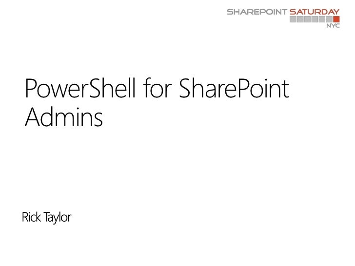 PowerShell for SharePointAdmins