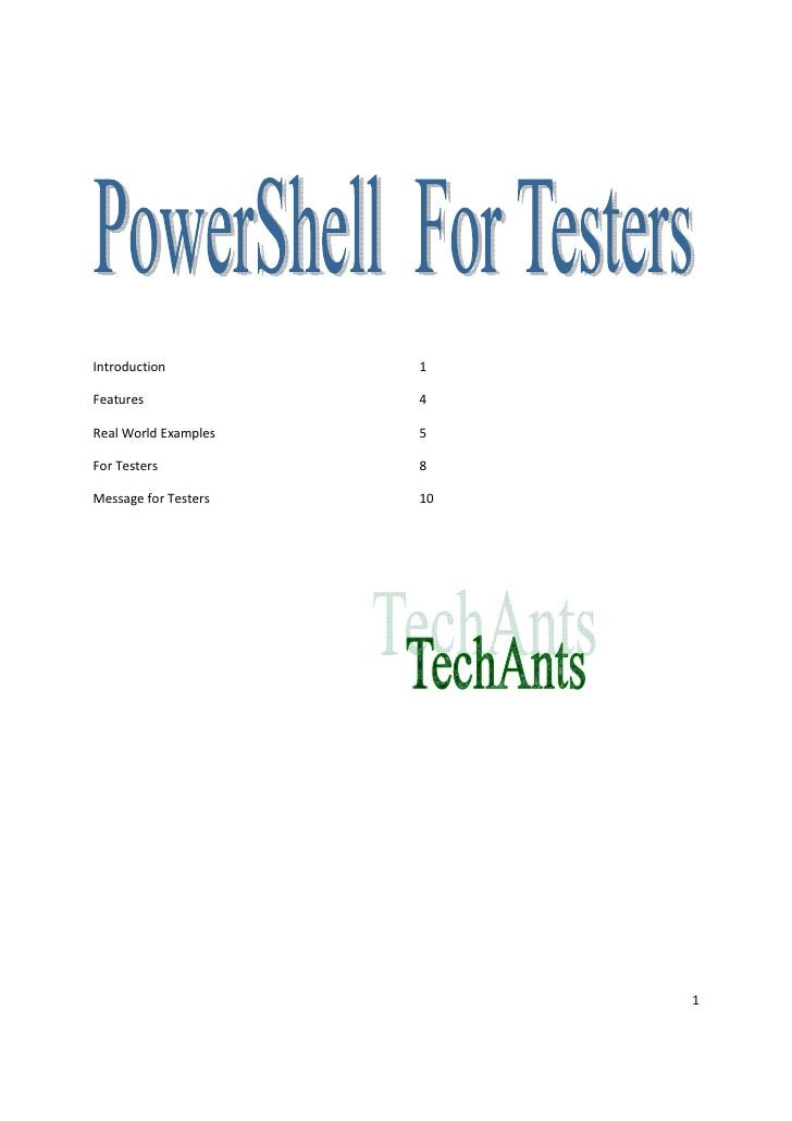 Power Shell For Testers