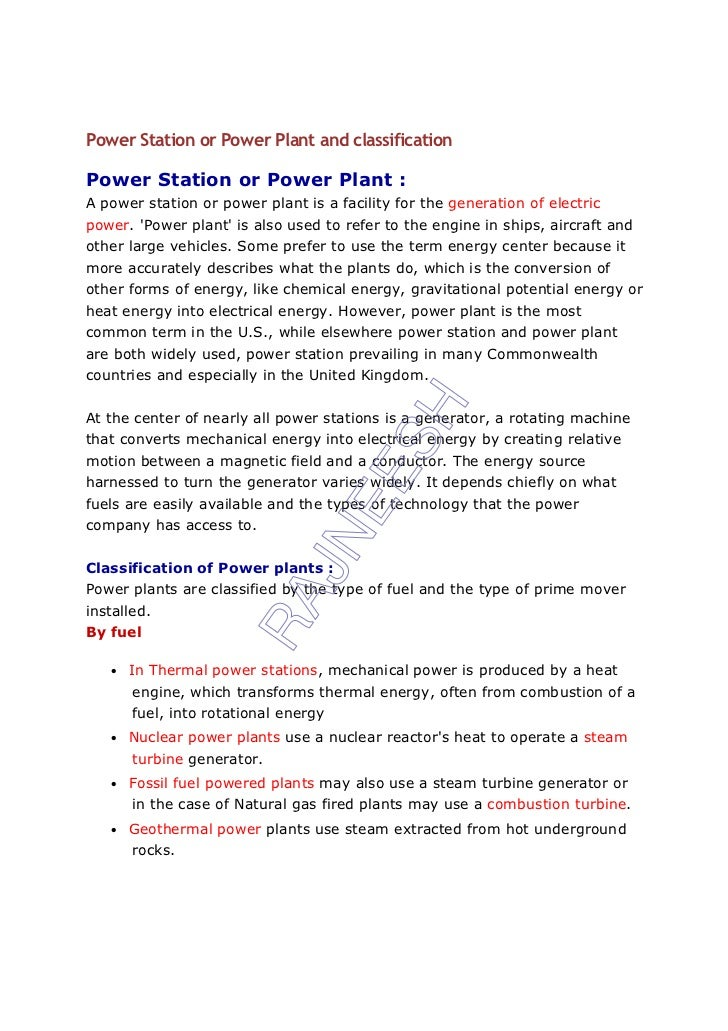 Power Station or Power Plant and classificationPower Station or Power Plant :A power station or power plant is a facility ...