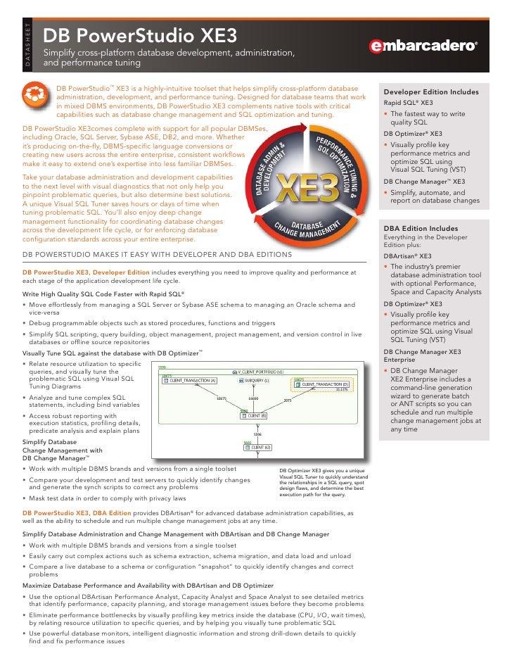 DB PowerStudio XE3 Datasheet