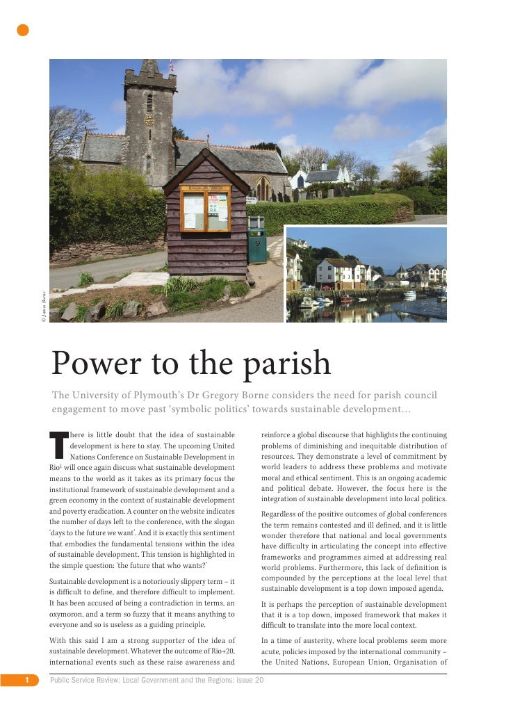 © James Borne                    Power to the parish                    The University of Plymouth's Dr Gregory Borne cons...