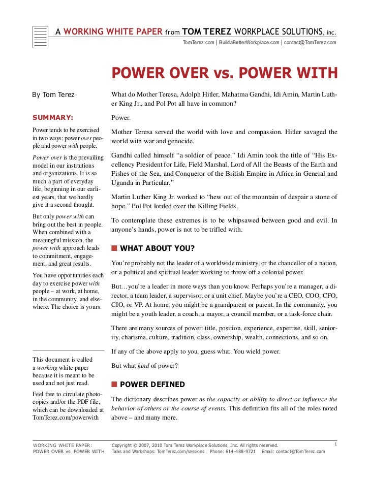 Power Over Vs. Power With !!
