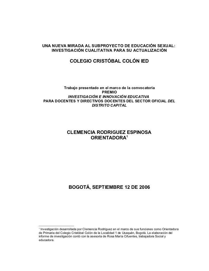 UNA NUEVA MIRADA AL SUBPROYECTO DE EDUCACIÓN SEXUAL:        INVESTIGACIÓN CUALITATIVA PARA SU ACTUALIZACIÓN               ...