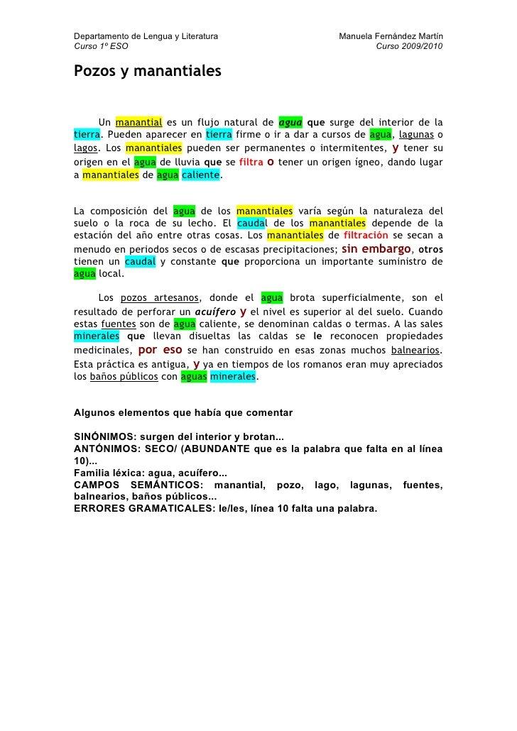 Departamento de Lengua y Literatura                    Manuela Fernández Martín Curso 1º ESO                              ...