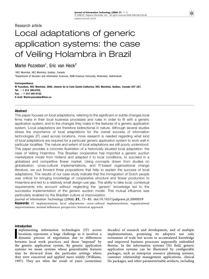 Local Adapatations and Generic Application Systems