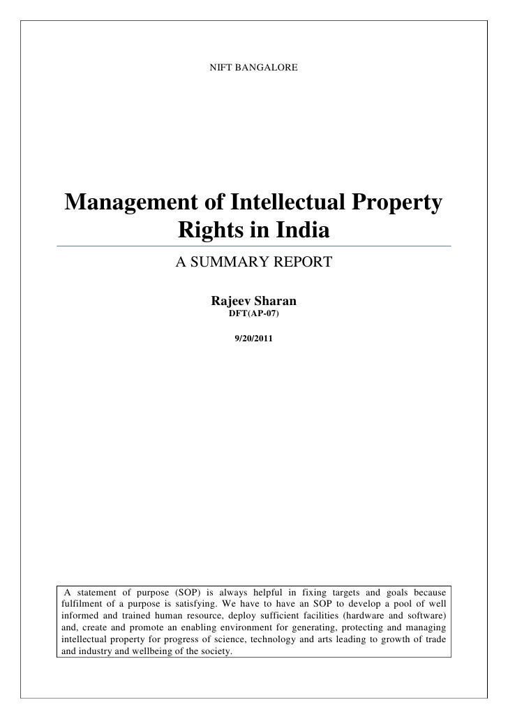 NIFT BANGALOREManagement of Intellectual Property        Rights in India                           A SUMMARY REPORT       ...