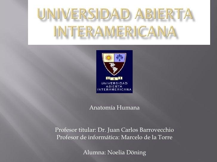 Anatomía Humana Profesor titular: Dr. Juan Carlos Barrovecchio Profesor de informática: Marcelo de la Torre Alumna: Noelia...